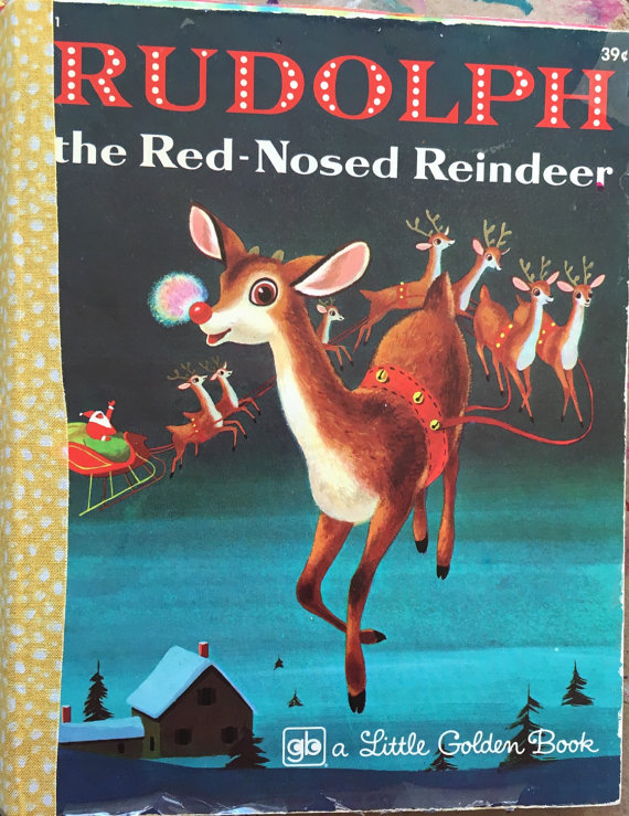 1973 Rudolph the Ted-Nosed Reindeer Little Golden Book Art Journ - Click Image to Close