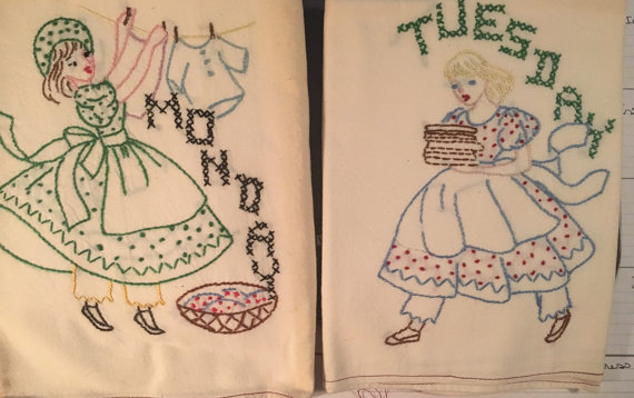 Vintage hand embroidered large tea towels - Click Image to Close